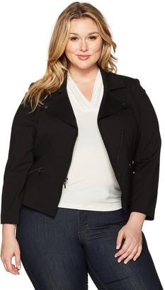 Kasper Women's Plus Size Compression Ponte Zipper Front Jacket