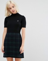 Fred Perry High Neck Knitted Dress With Print