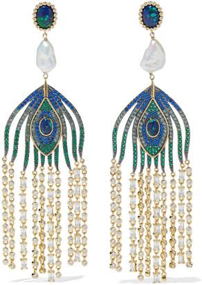 Noir 14-karat Gold-plated Multi-stone Earrings
