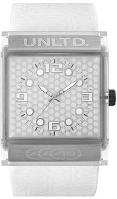 Ecko Unlimited Unisex Quartz Watch with White Dial Analogue Display and White Silicone Strap E08513G4