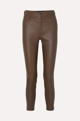 Rag & Bone Nina Cropped Leather Skinny Pants - Green