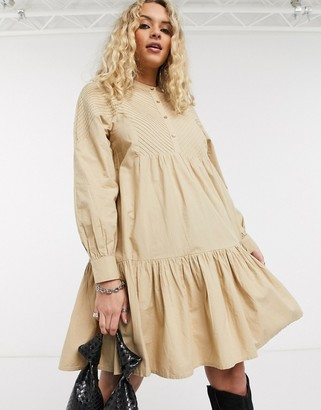 Object tiered poplin smock dress in beige