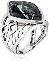Barse Sterling Silver and Silver Matrix Obsidian Ring
