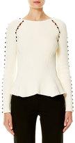 Carolina Herrera Button-Trim Peplum Sweater