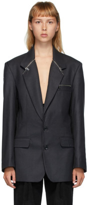 Situationist Black Wool Zip Detail Blazer