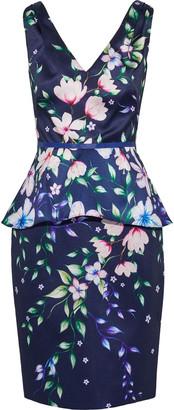 Marchesa Floral-print Satin-pique Peplum Dress