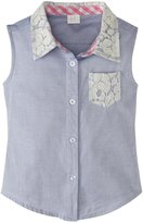 Andy & Evan Ace Of Lace Woven Shirt (Toddler/Kid) - Blue-7 Years