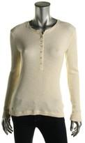 Lauren Ralph Lauren Womens Ribbed Knit Long Sleeves Henley Top