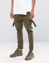 Asos Drop Crotch Joggers With Taping In Light Khaki