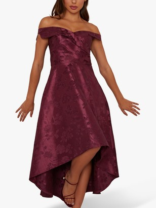 Chi Chi London Aliciya Floral Embroidered Maxi Dress, Berry