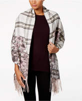 Charter Club Floral-Over-Plaid Blanket Wrap & Scarf in One, Created for Macy's