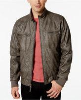 Calvin Klein Mens Faux-Leather Bomber Jacket