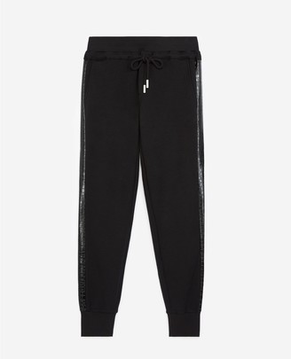 The Kooples Black joggers with crocodile-print side trim