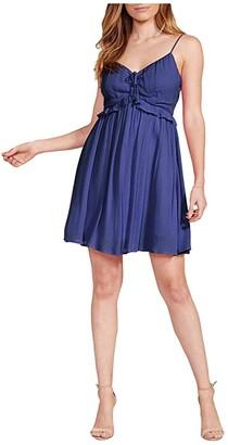 BB Dakota Crinkle Rayon Tank Dress with Front Cinch (Deep Ocean) Women's Clothing