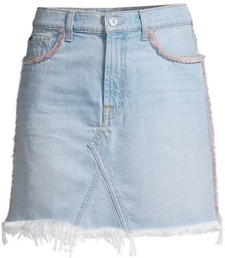 7 For All Mankind Fringed Denim Mini Skirt