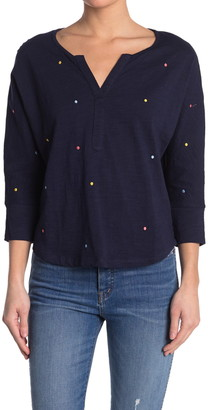 Current Air Embroidered Polka Dot Henley Blouse