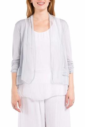 m+ M Women's Lightweight Open Front Cardigan Sweater - Silver