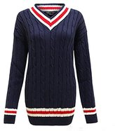 Zara Fashion -Women V neck Cable Knitted Cricket Plus Size Jumper (xl, )