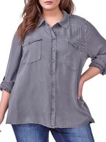 Addition Elle Love And Legend Solid Casual Button-Down Shirt