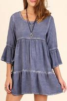 Umgee USA Blue Babydoll Dress
