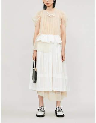 Simone Rocha Gathered tulle and satin midi dress