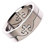 Metals Jewelry Cross Puzzle Ring 316L Surgical Grade Stainless Steel 8mm Size 12.5