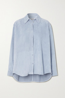 Loewe Oversized Suede Shirt - Blue