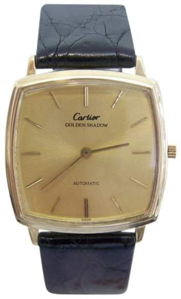 Cartier Golden Shadow 18K Yellow Gold / Leather Vintage 32mm Mens Watch