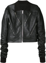 Rick Owens cropped biker jacket - men - Leather/Polyamide/Wool - 48