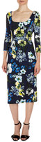 Erdem Tess 3/4-Sleeve Floral-Print Dress, Navy/Yellow