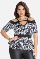 Fashion to Figure Christen Splatter Print Peplum Top