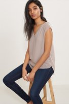 Dynamite Sheer Layered V-Neck Tee