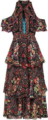 Etro Cold-shoulder Printed Silk-georgette Maxi Dress