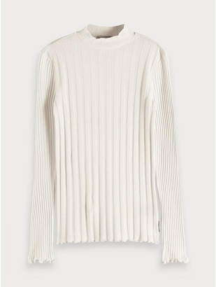 Maison Scotch High Neck Rib Knitted Pullover Off White - Size S