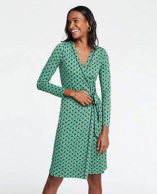 Ann Taylor Piped Tulip Wrap Dress