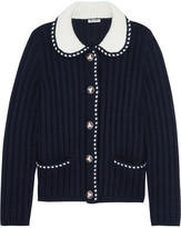 Miu Miu Two-tone Wool Cardigan - Midnight blue