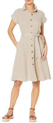 Calvin Klein Button Front Belted Short Sleeve Shirtdress (Khaki) Women's Dress
