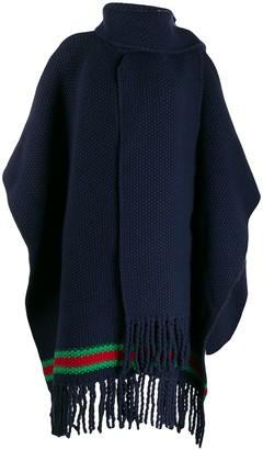 Gucci Chunky Knit Stripe Detail Poncho