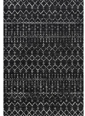 Jonathan Y Designs Power Loom Black/Ivory Rug Rug Size: Rectangle 4' x 6'