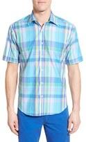 Bugatchi Men's Classic Fit Short Sleeve Plaid Sport Shirt
