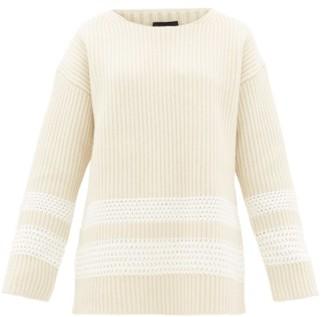 Joseph Oversized Crochet-panel Wool-blend Sweater - Womens - Cream Multi