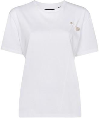 Blindness faux-pearl appliqué T-shirt