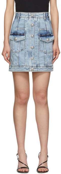 Balmain Blue Denim Acid Wash Miniskirt