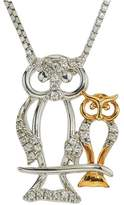 Ice Diamond Owl Mom & Child Necklace