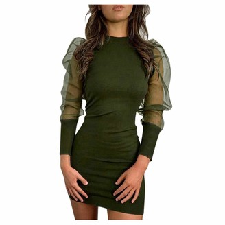 Younthone Women's Casual Mini Dress Sheer Mesh Sleeves Solid Color Pencil Skirt Temperament Ball Gown Elegant Lady Cocktail Party Dress Everyday Casual Skirt Army Green