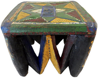 One Kings Lane Vintage African Old Nupe Low Stool - green/red/blue/multi