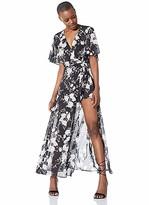 Elise Bloom Women's Floral Printed Wrap V Neck Short Sleeve Split Beach Party Maxi Dress Navy Medium