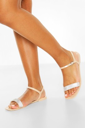 boohoo Diamante Strap Square Toe Jelly Sandals