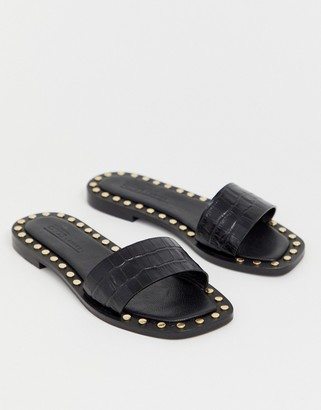 ASOS DESIGN Foxhill premium studded flat leather sandals