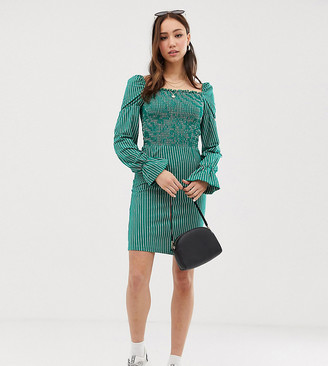 Glamorous Tall dress with puff sleeves in pinstripe-Green